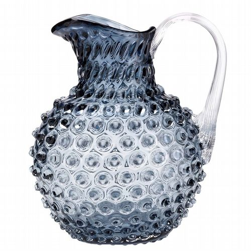 Hobnail Glass Jug - 2L - Blue / Grey